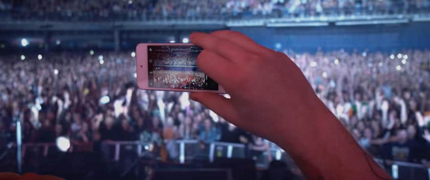 Music video storyboard fans photographed with phone