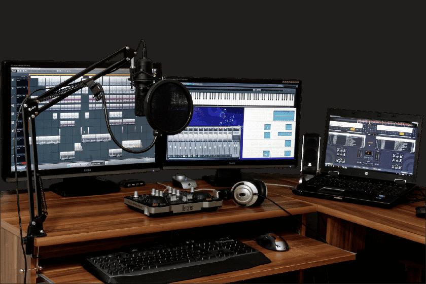 home recording studio desk setup