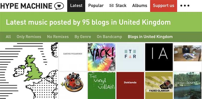 Hype Machine blogs for singers and musicians