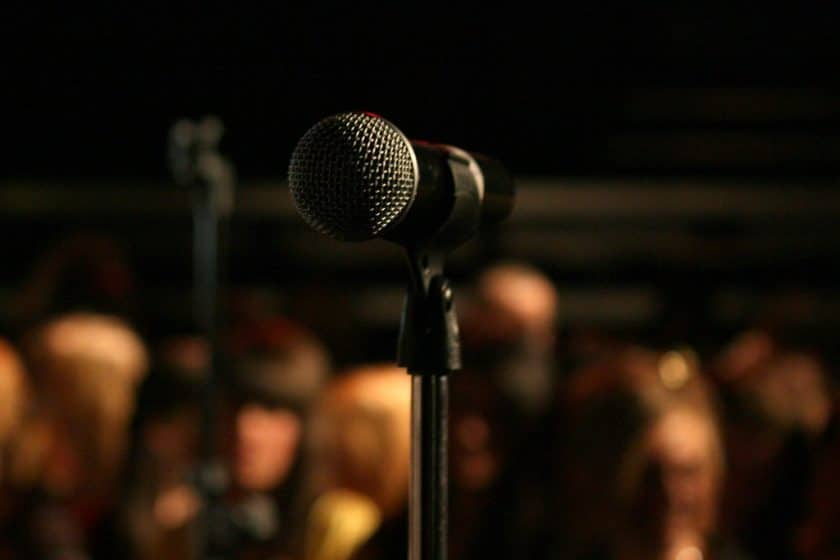 Sound checking at an open mic