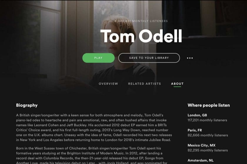 Writing a Spotify artist bio