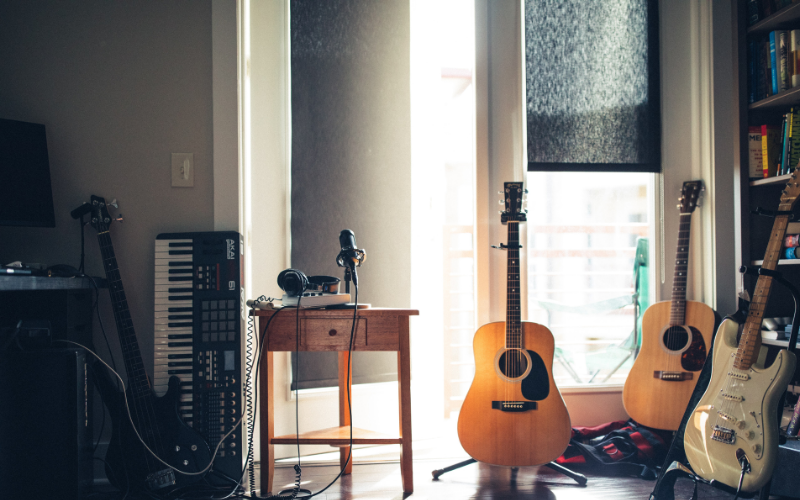 guitars in a room